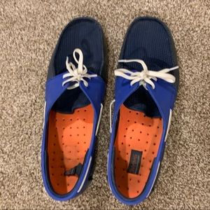 Men's 9.5 SWIMS Shoes Blue and Orange Lightly Worn